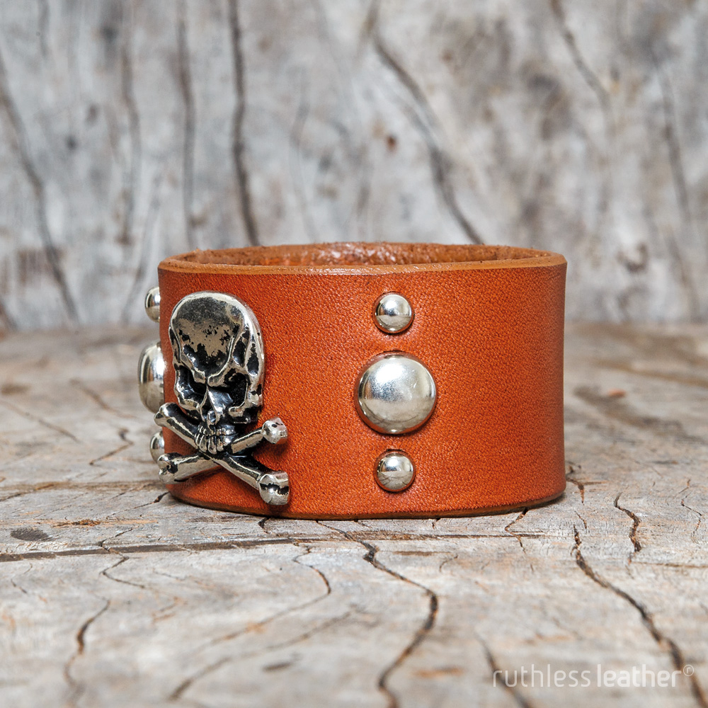 ruthless leather jolly roger cuff
