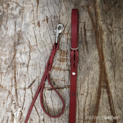 ruthless leather standard leash (t) with traffic handle