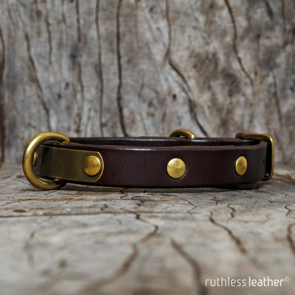 ruthless leather narrow no frills with nameplate